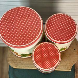 Vintage Kitchen - Vintage strawberry kitchen storage tins